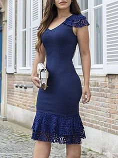 Solid Layered Lace Splicing Bodycon Dress by cecilia Stylish Dresses, Simple Dresses, Sexy Dresses, Cute Dresses, Dress Outfits, Short Dresses, Dress Skirt, Lace Dress, Bodycon Dress