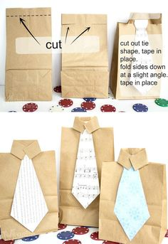 Easy Shirt 'n Tie Father's Day Gift Bag - Muslin and Merlot Super easy shirt and tie gift bag for Father's day! Fun for kids to make out of brown paper bags :-) Diy Father's Day Gifts, Father's Day Diy, Xmas Gifts, Cadeau Parents, Pioneer Gifts, Paper Gift Bags, Experience Gifts, Simple Bags, Birthday Gifts