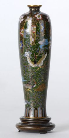 Fine Small Japanese Cloisonne Vase w. Ho-o Birds.Meiji.