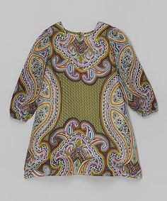 Look at this #zulilyfind! Green & Turquoise Paisley A-Line Dress - Toddler & Girls by Yo Baby #zulilyfinds