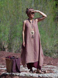 Ethnique chic: longue tunique en voile de lin-:- AMALTHEE CREATIONS-:- n° 3354
