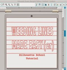 It has come to my attention that perhaps a simpler version of the weeding lines tutorial is...