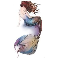 Mermaid Tattoo Stickers Individual Styles Temporary Tattoos Tattoo Design Women * Read more at the image link. (This is an affiliate link and I receive a commission for the sales) Small Mermaid Tattoo, Mermaid Tattoo Designs, Mermaid Tattoos, Watercolor Mermaid Tattoo, Mermaid Artwork, Mermaid Drawings, Art Drawings, Mermaid Pics, Fantasy Mermaids