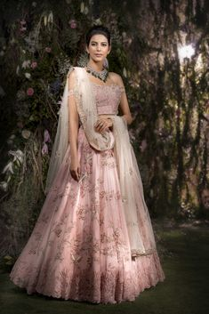 Stunning blush pink color lehenga and off shoulder blouse with net dupatta. Indian Wedding Outfits, Bridal Outfits, Indian Outfits, Bridal Dresses, Indian Engagement Outfit, Indian Reception Outfit, Eid Dresses, Pakistani Outfits, Indian Clothes