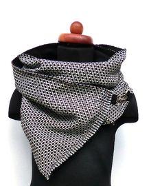 Schals - Schal/ Wickelschal Webstoff schwarz weiß Karabiner - ein Designerstück von pepanella bei DaWanda