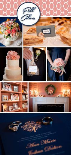Fall Wedding Decoration Ideas, Pumpkin wedding decorations, Peonies, Pink ribbon on cake, Pumpkin centerpieces, Pink, Peach, and Dark Blue wedding colors