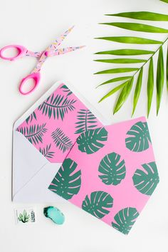 Envelope Liners free printable stationery tropical palm tree fronds leaves DIY-1