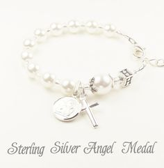 Baby's Sterling Silver and Swarovski® Personalised Baptism Rosary Bracelet with Solid Sterling Silver Cross, Guardian Angel and Letter Bead