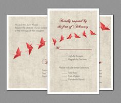 Lovely Origami Paper Crane Wedding Invitation RSVP By Livelaughlovelots, $15.00