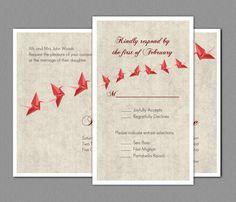 printable wedding invitation template paper cranes wedding, invitation samples