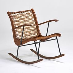 Anonymous; Ash, Gut and Enameled Metal Rocking Chair by Vermont Tubbs, 1950s.