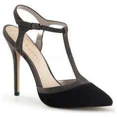 5 Inch Suede T Strap High Heel Closed Toe Pump with Ankle Straps P AMUSE - 17