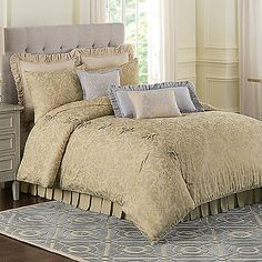 With a detailed damask print in a soft color palette, the super-soft Foundry Comforter Set is a soothing and elegant bed that will give your bedroom an instant update.