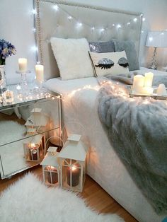pinterest // shannonleftwich bedroom decor white grey bed decorations candles home house