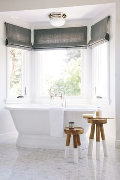 Love the window coverings! What a beautifully simple bathroom! The Serena & Lily Dip Dyed Stools add the perfect amount of disparity from the white marble floor and the gleaming bathtub! From Amanda Teal Design Bathroom Window Coverings, Bathroom Windows, Window Curtains, Bathroom Hooks, Window Seats, Bathroom Rugs, Decor Inspiration, Bathroom Inspiration, Decor Ideas
