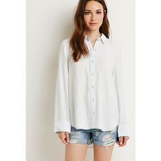 Love 21 Life in Progress Oversized Western Shirt (€27) ❤ liked on Polyvore featuring tops, oversized tops, woven shirt, cowboy shirt, layered tops and button-down shirts