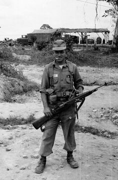 Soldier Of The 70th Engineer Battalion With An M14 Circa 1965 Military Pins