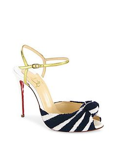 Christian Louboutin Eponge 100 Knotted Peep Toe Ankle-Strap Sandals