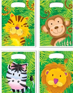zoo animal party boxes | ... Parties » Jungle Zoo Animal Party Supplies Loot Bags 10 Pack