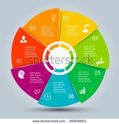 Vector circle elements for infographic. Template for cycling diagram, graph, presentation and round chart. Business concept with 7 options, parts, steps or processes. Abstract background - stock vector