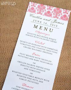 Pink Damask Wedding Dinner Menu Wedding by WhimsyBDesigns on Etsy, $1.50