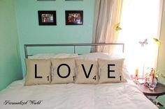 Set of 4 SCRABBLE LETTER decorative pillow by PersonalizedWorld, $59.00