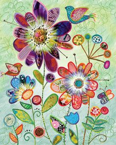 Wild Garden Flowers and Bird Collage art by Lori Siebert, Whimsical, Collage, Colorful, Patterned, Lori Seibert, WG