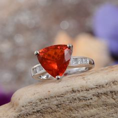14K White Gold Jalisco Fire Opal and Diamond Ring