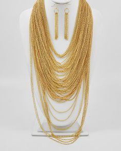 Goldtone Chain / Lead & Nickel Compliant / Multi Strand Necklace & Fish Hook Earring Set