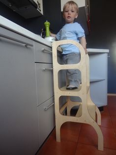 Learning tower / step stool for toddler to aid little helper to help mom.  I am too short to see, what my mummy is doing there on the table, but I have such a HUGE will to help her!!!  Lets give a chance our little helpers help us in a safe way using a proper stool, so the child can reach the table to learn cooking basics.  Little helper step stool: + handmade from 15mm (0.59) birch plywood, so stable and hardy to hold a toddler;  + Treated with water based lacquer or colored with water…