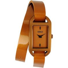 Versus Wrist Watch ($100) ❤ liked on Polyvore featuring jewelry, watches, camel, versus watches, leather-strap watches and camel jewelry