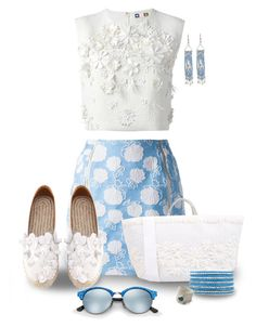 """""""Flower power - raffia tote bag"""" by nicole-christie-mennen ❤ liked on Polyvore featuring MSGM, Ermanno Scervino, Ray-Ban, Chan Luu and Catherine Marche"""