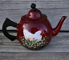 SMALL RED Aluminum COFFEE TEA POT HP HEN French Country Rooster Art T. McMurry #CountryRoosterArt