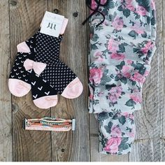 Pink V socks Pink and black Crew length socks. This is my fav pair they are so cute! The set comes with 3 socks, all mismatched but coordinated to match. NWT in complete packaging Orange beld Accessories Hosiery & Socks