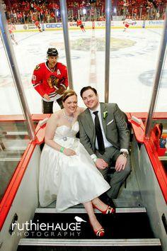 Best photobomb or best photobomb? Sharpy jumped into the newlyweds' wedding photos!