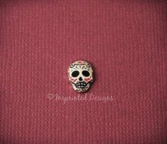 Sugar skull floating charm for living memory locket-  at https://www.etsy.com/listing/193824074/skull-locket-charm-floating-charm-living