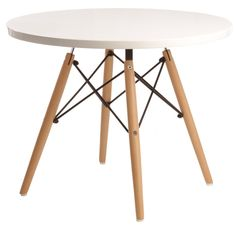 Eames CTW table Wooden base. Wooden top. junior round