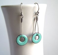 Enamel Earrings turquoise green enamel enamel ring earrings dangle enameled jewelry. £17.50, via Etsy.