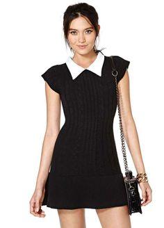Black Contrast Bodycon Short Sleeve Sweater Dress