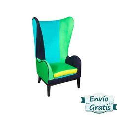 Sillón vintage orejero Fluor Pop atrevido que romperá con la decoración aburrida de tu hogar. http://www.vasderetro.com/sofas-sillones-retro