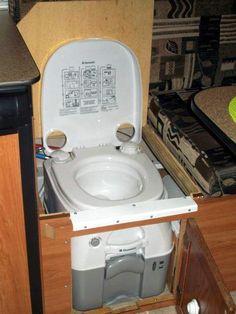 Installing portable toilet to aliner toilet #1