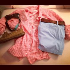 Oxford shirt, pastel shorts, sperrys, sunglasses with croakies