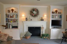 Fireplace Bookcases, with TV on side.