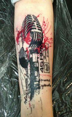 Microphone tattoo #tattoo #oldschool
