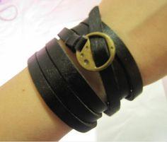 Women Black Leather Bracelet  and Bronze Alloy Buckle Cuff Bracelet  341A. Etsy.