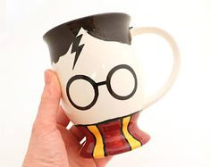 Harry Potter Mug - pedestal mug-  gryffindor scarf - home and living - cups and mugs - ceramics and pottery - handmade - accio coffee