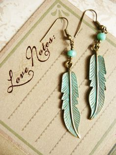 Turqoise Patina Feather Earrings by VerdegrisGifts on Etsy, $15.50