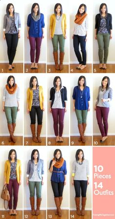 3 bottoms (2 neutral, 1 colour)   3 completers (1 blazer, 2 cardis)   4 tops   2 pairs of shoes   2 scarves = 14 outfits