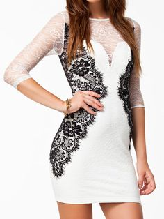 White Lace Top Half Sleeve Bodycon Dress | Choies