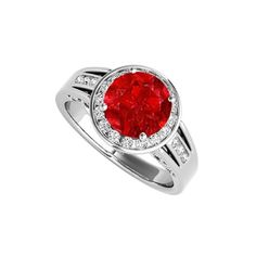 CZ and Ruby Halo Engagement Ring in 14K White Gold, 2.25 CT TGW, July Birthstone Gift, Women's, Size: 10